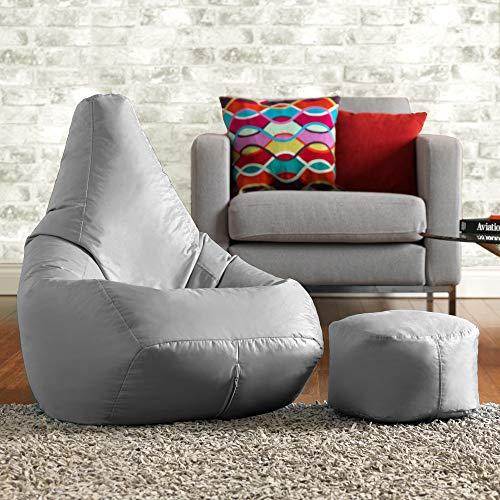 Bean Bag Bazaar High Back Chair and Footstool Combo - 80cm x 69cm - Indoor Outdoor Water Resistant BeanBag (Grey)