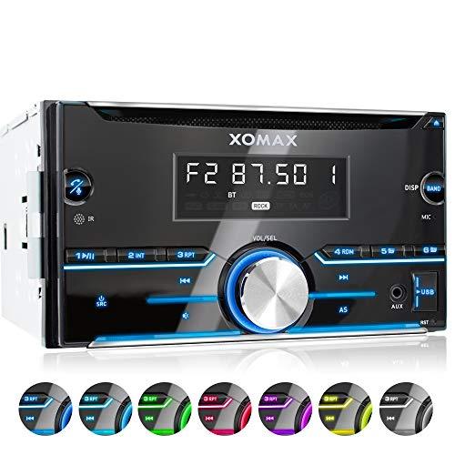 XOMAX XM-2CDB626 Autoradio mit Bluetooth-Freisprecheinrichtung I CD, USB für MP3 und WMA, AUX I 7 Beleuchtungsfarben I RDS I AM/FM I 2 DIN