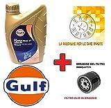 Generico Kit TAGLIANDO Motore Quattro Litri Olio Gulf 10W40 4T + Filtro Olio Moto Guzzi Nevada S Anniversario (LMM00) 750 12
