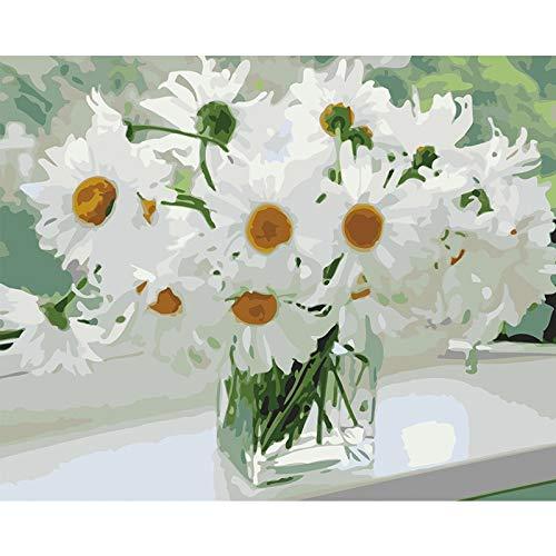 yaonuli Digitales Malerei DIY Fenster Chrysantheme Blume Leinwand Kunst Bild Geschenk 40x50cm Rahmenlos