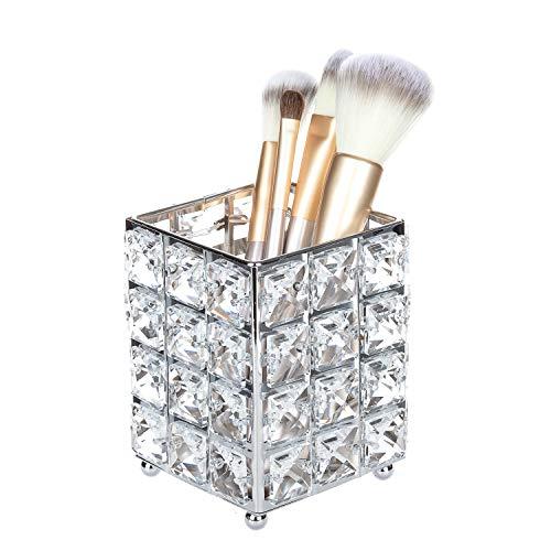 Feyarl Porte-pinceaux de maquillage en cristal doré Argenté