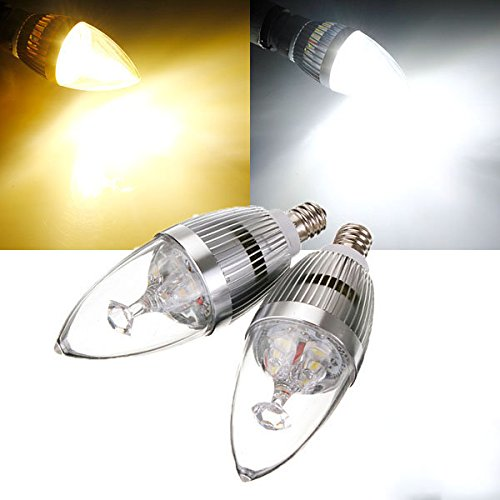 Bazaar E12 3,5 W wit/warm wit 3 LED kroonluchter zilver kaars-lamp 85-265 V