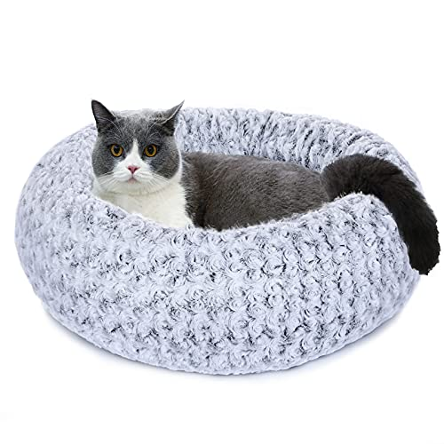 """Furpezoo Cat Bed Dog Bed of Rose Plush Round Donut (23""""x23""""x8""""), Round Comfortable Rose Swirl Plush Beds with Removable Washable Cover for Medium Small Dogs and Cats, White,S"""