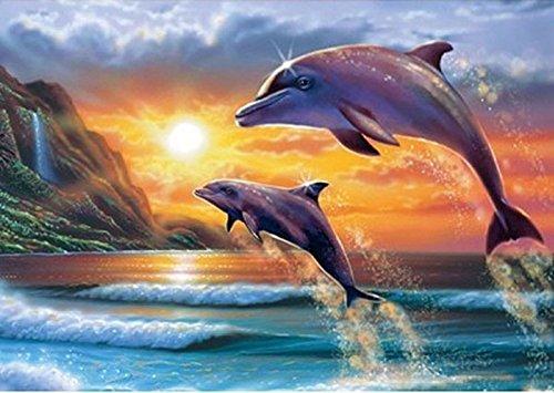 DIY 5d Diamond pintura por número Kit, diseño de delfín y cristal Rhinestone adornos de punto de cruz, diseño de bordado artes manualidades lienzo pared decoración