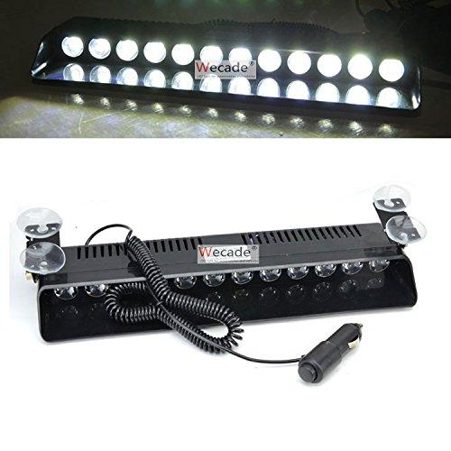 Wecade 12w 12 Leds Car Truck Emergency Strobe Flash Light Windshield Warning Light (White)