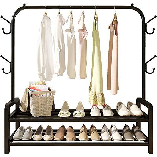 Minmin Perchero de Metal Pesado Perchero para Ropa Perchero con estantes de 2 Niveles para almacenar Cajas de Zapatos Perchero Independiente de diseño Moderno,Beige
