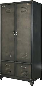 Maison ESTO Metallschrank Spindschrank Wäscheschrank Kleiderschrank Metall Vintage schwarz