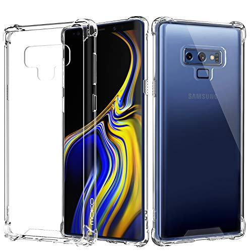 MoKo Case Compatible with Samsung Galaxy Note 9, Crystal Clear Shockproof Case Reinforced Corners TPU Bumper + Anti-scratch Rugged Transparent Panel Cover Fit Galaxy Note 9 (2018) 6.4' - Crystal Clear