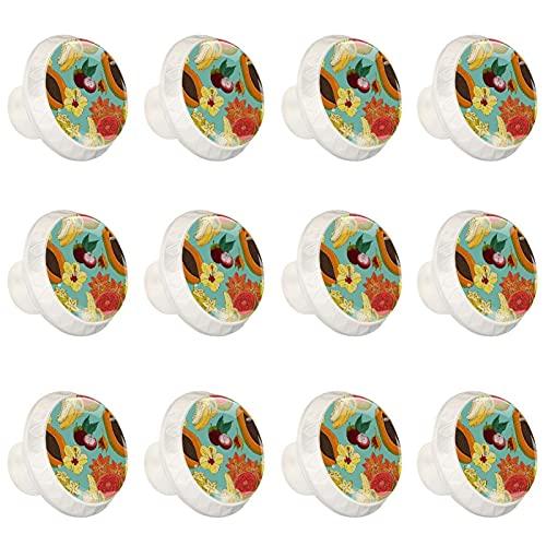 Frutas tropicales coloridas Tiradores de Muebles Redondas Perillas de Armarios Decorativos Pomos Cristal para Gabinete Puertas Cajón y Cocina 12 Piezas 3.5×2.8cm
