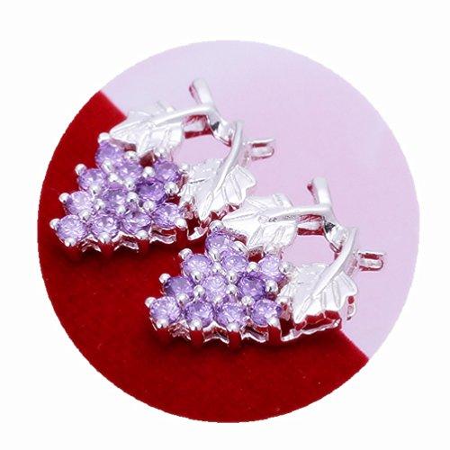 Ecloud Shop® Plata Pendientes de Piedras Preciosas púrpura del Diamante de UVA Crystal oído S