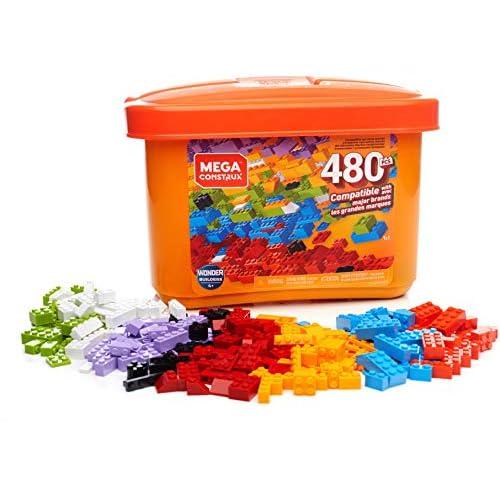 MEGA Construx Secchiello Arancione con 480 Pezzi, Compatibile con Tutte Le Marche, Giocattolo per Bambini 4+ Anni, GJD23
