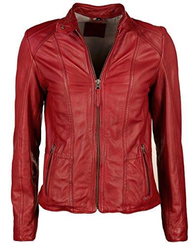 Mustang Leather Damen Jacke Mu-W15-Sanibel Echtleder, Gr. 38 (Herstellergröße: M), Rot (chilli red 4052)