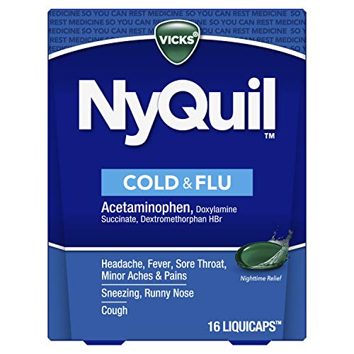 Vicks NyQuil Cough, Cold & Flu Nighttime Relief, 16 LiquiCaps - #1 Pharmacist Recommended, Nighttime Sore Throat, Fever, and Congestion Relief