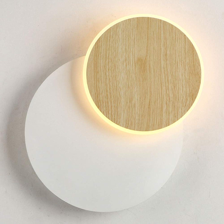 LED Wandleuchte Wei 300 Grad Drehbar Warmes Licht 6 Watt Nachttischlampe Eisen Acryl Designer Dekoration Holzfarbe Wandlampe Für Schlafzimmer Wohnzimmer Restaurant Villa