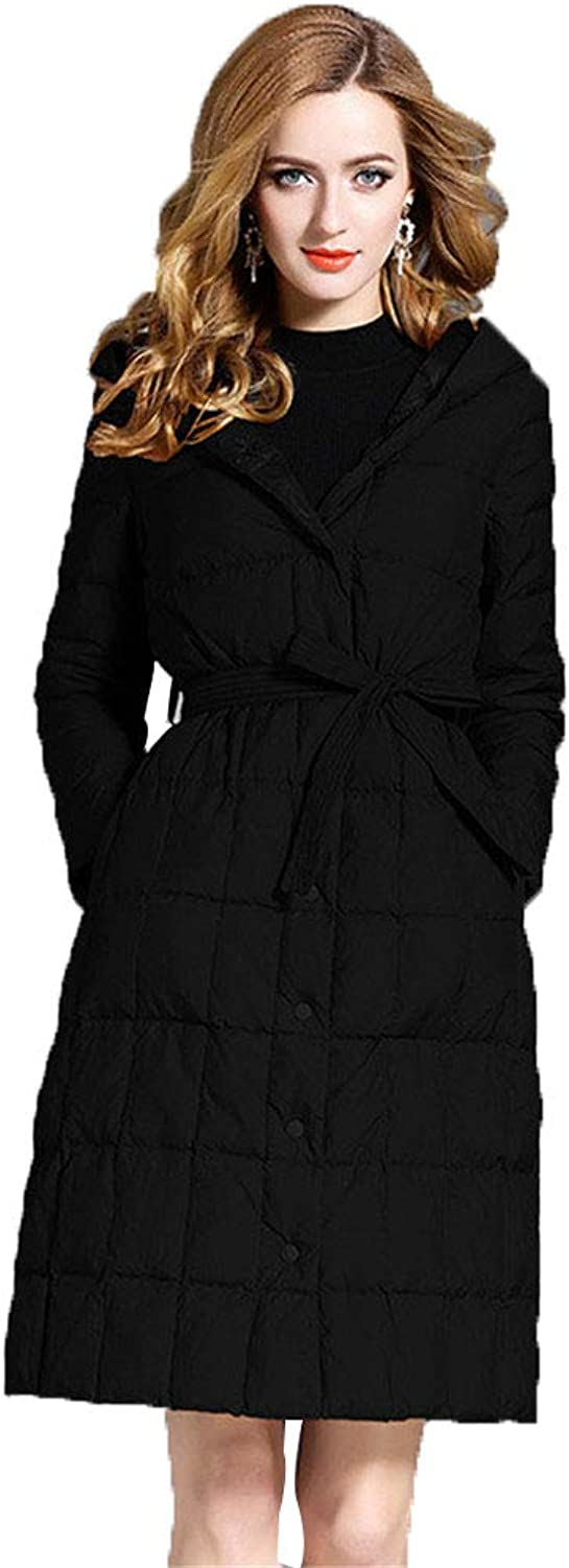 Women's Solid color Slim Hooded Down Jacket SingleBreasted with Belt Casual Warm Long Outwear Plus Size,Black,S