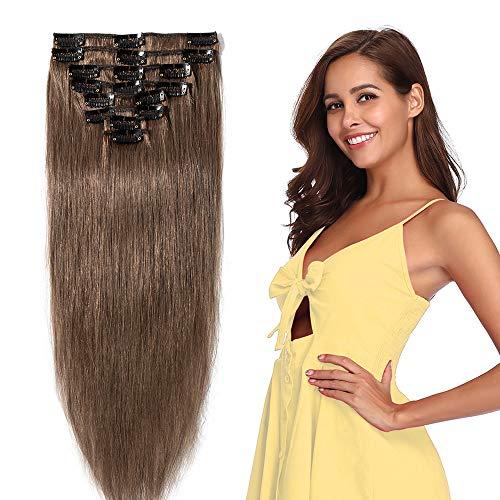 Extension a Clip Cheveux Naturel Cheveux Humain - Rajout Cheveux Naturel 8 Pcs Volume Fin (#06 Marron clair, 50 cm (70 g))