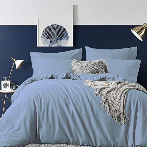 RUIKASI Bettwäsche Set 220 x 240 cm Spa Blau 100% Weiche und Angenehme Mikrofaser Schlafkomfort - 1 Bettbezug 220 x 240 cm + 2 Kissenbezüge 80 x 80-10 Jahre Garantie - spa blau