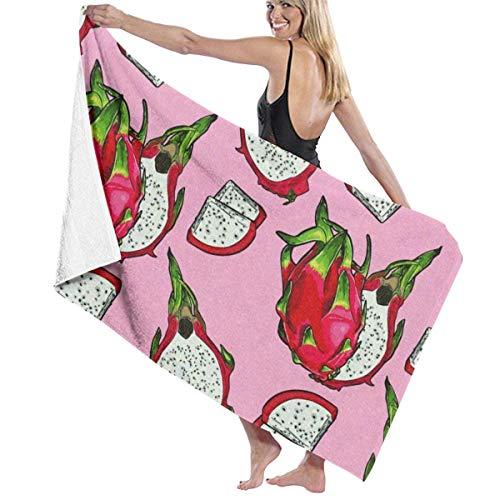 Ewtretr Toalla de Playa Bath Towels Pink Dragon Fruit Microfiber Bath Towel Soft High Absorption Quick Drying Bathroom Travel Sports and More130cmx80cm