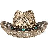ZHANGXJ Vintage Sombrero de Paja Vaquero Hombre Mujer Sombrero de Sol Sombrero de Playa Occidental Ancho Brim Respirable Protección Solar Viaje al Aire Libre Unisexo (Color : C)