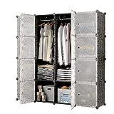 Sawekin Kleiderschrank 16 Würfel DIY Regalsystem Kleiderschrank Garderobenschrank Faltbare Garderobe Faltschrank mit 2 Kleiderstange (16 Würfel)