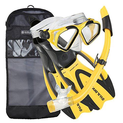U.S. Divers Cozumel Seabreeze Adult Snorkeling Combo Set with Adjustable Mask, Snorkel, Medium/Large Fins (8-9.5), and Travel Bag, Yellow