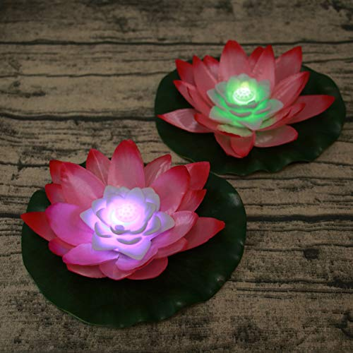 Uonlytech - Luces de Loto, Velas flotantes, Velas Decorativas, farolillo de Velas, para Estanque, Fiesta, 2 Unidades