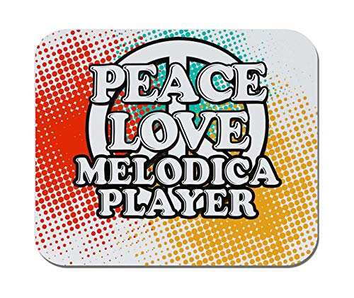 Makoroni - Peace Love Melodica Player Music- Non-Slip Rubber - Computer, Gaming, Office Mousepad