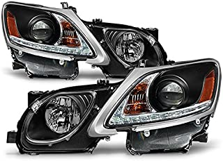 For 2006-2011 Lexus GS300 GS350 Xenon HID Type LED Strip w/DRL Black Headlights Headlamps Replacement Pair