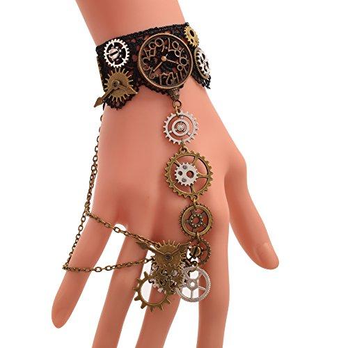 BLESSUME Steampunk Manschetten Gothic Victorian Handstulpe Armbänder (B)