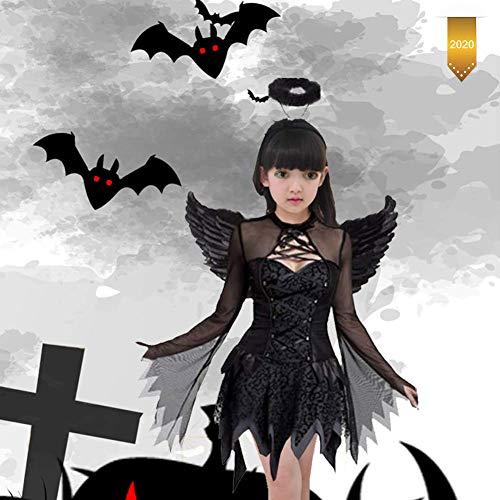 HUA JIE Halloween Ángel Demonio Disfraz, Trajes De Ángel De Carnaval Cosplay con Lavables para Niñas,S