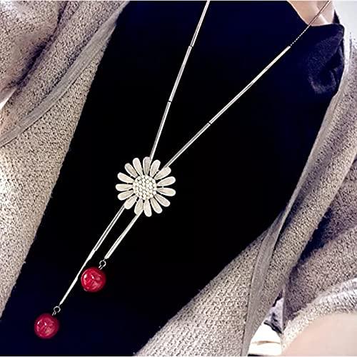 Chenfeng Collar Fiesta Vestir Colgante Collares con Colgante para Mujer, Collar de Flor de Sol, Collar de Cristal, Cadena Larga para suéter Femenina, Regalo de San Valentín