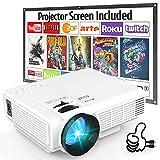 Proyector, Proyector de Video Soporta 1080P HD, Proyector Mini Compatible con TV Stick PS4 Xbox Wii...