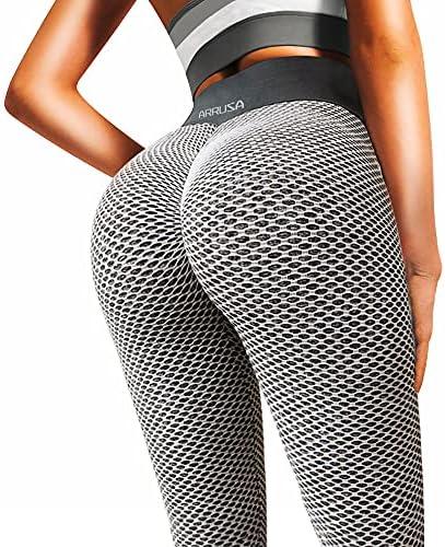 ARRUSA TIK Tok High Waist Butt Lifting Leggings, Tummy Control Workout Tights, Women Yoga Pants for Gym Sports Grey