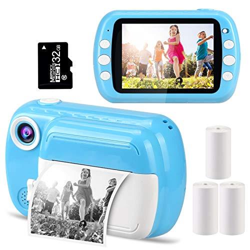 GlobalCrown Cámaras instantáneas para niños,Cámaras de Fotos instantánea con Pantalla de 3,5 Pulgadas Regalos cámaras Digitales para 3 a 12 años (Incluye 4 Rollos de impresión Papel y 32GB Tarjeta)