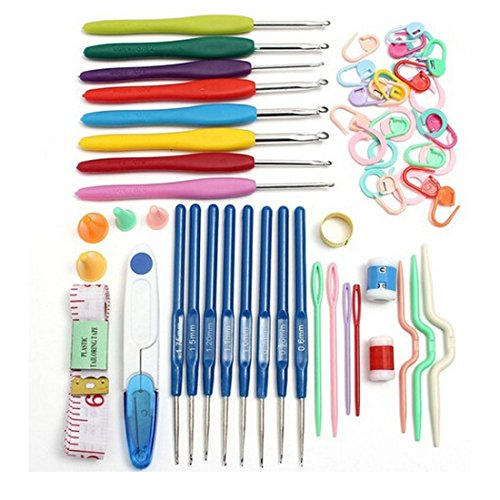 Economic DIY Crochet Hooks Needles 16 Sizes Home Supplies Stitches Knitting Craft Case Set,random color
