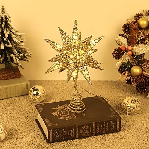 Lewondr Christbaumspitze, Glitzernder Weihnachtsbaum Topper Beleuchtete Funkelnde 3D geometrisch Stern Weihnachtsbaumspitze Weihnachten Dekoration LED Dekorativ Licht Batteriebetrieb 28cm - Gold