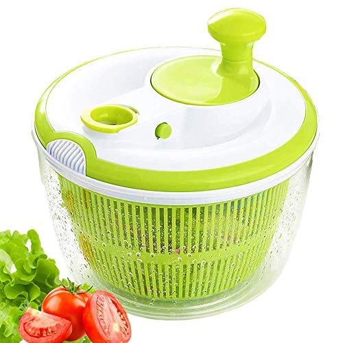 JmeGe – Essoreuse à Salade Design Rapide sans BPA pour sécher et égoutter la Salade et Les légumes, Grande capacité 5 L, Passe au Lave-Vaisselle (Vert)