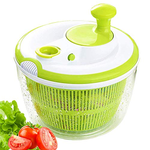 JmeGe Salad Spinner Dryer Quick Design BPA Free Dry Off & Drain Lettuce and Vegetable-4.5 Quart Large Capacity & Dishwasher Safe(Green) (4.5 Quart)