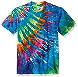 Liquid Blue unisex adult Rainbow Blue Streak Tie Dye Short Sleeve T-shirt T Shirt, Multi Colored Tie Dye, X-Large US