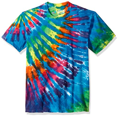 Liquid Blue unisex adult Rainbow Blue Streak Tie Dye Short Sleeve T-shirt T Shirt, Multi Colored Tie Dye, Large US
