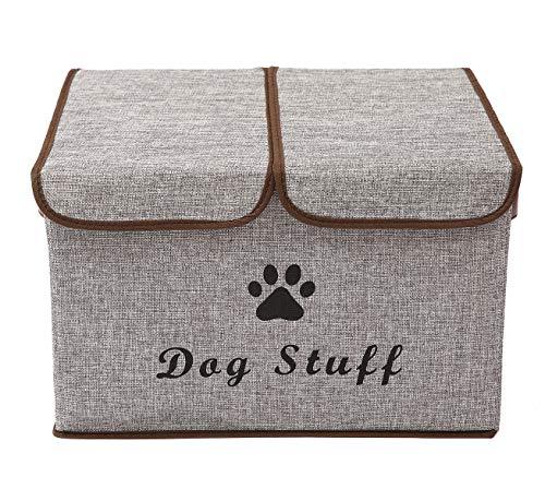 Xbopetda Aufbewahrungsbox für Hunde, Leinen, faltbar, mit Deckel und Griffen, ideal für Hundebekleidung und Zubehör, Hundemäntel, Hundespielzeug, Hundebekleidung grau
