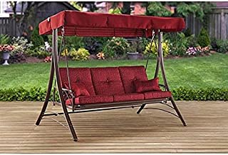 Mainstay NEW Callimont Park 3-Seat Canopy Porch Swing Bed Red