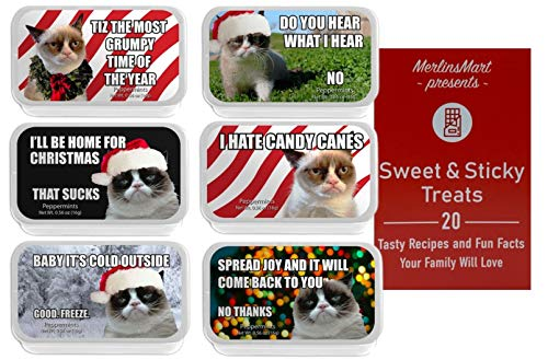 Grumpy Cat Meme Breath Mints | Christmas Candy Stocking Stuffer | (1) each: Most Grumpy Time, Do You Hear, I'll Be Home, Hate Candy Canes, Baby It's Cold, Joy - Plus Recipe Booklet Bundle…