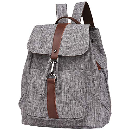 BuyAgain Casual Canvas Leather Backpacks Purse for Women Vintage Girls Daypack Travel Rucksack School Bag,Grey