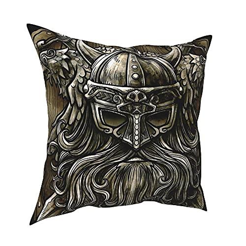 JJLLAZAD Odin Cuscino Case Home Sofà Decor Nordic Fenrir Wolf 3D Stampa Pattern Poliestere Quadrato Throw Pillow Coperture Regalo,Retro,20x20Inch