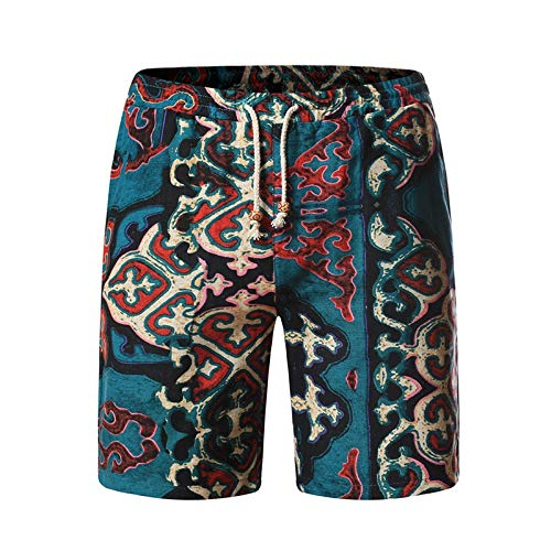 Aoogo Herren Strandshorts Flachs Basic Coole Badehose Herren stylische Designer Badeshorts Männer Retro Taschen kurz schnelltrocknend