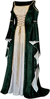 iLOOSKR Women Vintage Gothic Retro Off Shoulder Long Sleeve Patchwork Printed Ball Gowns Dress