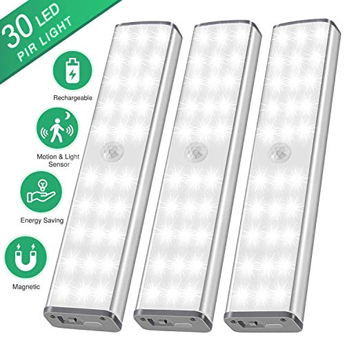 LED Schrankbeleuchtung mit Bewegungsmelder - 30er LED Nachtlicht Schranklicht, USB Nachtlampe mit 3 Helligkeitsstufen für Kinderzimmer und Küche, Flurlicht, 3er Set