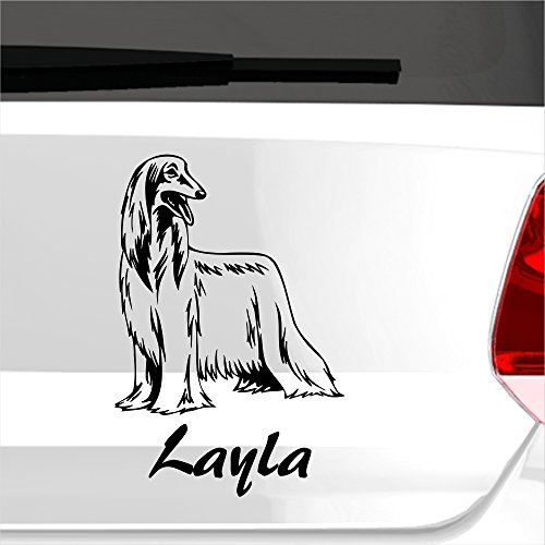 malango® Autoaufkleber Afghanenhund Wunschname Autosticker Hund Hunderasse Tier Aufkleber Tierwelt Sticker ca. 13 x 20 cm gold