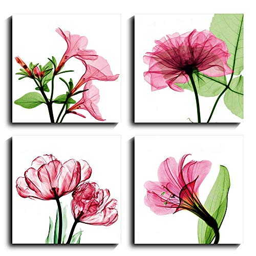 Canvas Wall Art Pink Green Flower Steven N. Meyers Style Flickering Flowers Tulip Geitian Prints Canvas Xray Rose Home Decor Ready to Hang